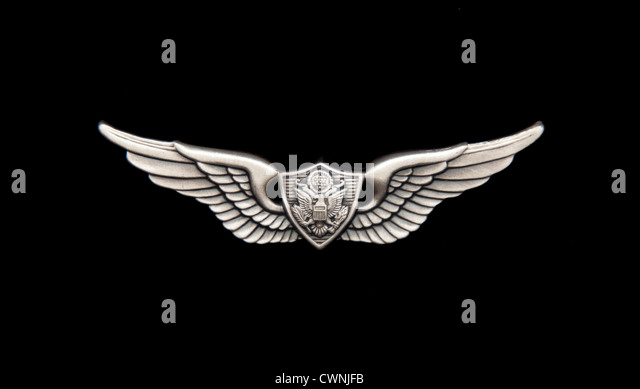 US Army Aviation badge on black - Stock Image