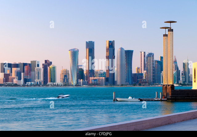 Al Bidda Tower, Palm Tower West, Burj Qatar and Tornado Tower from Museum of Islamic Art, Doha, Qatar, Middle East - Stock Image