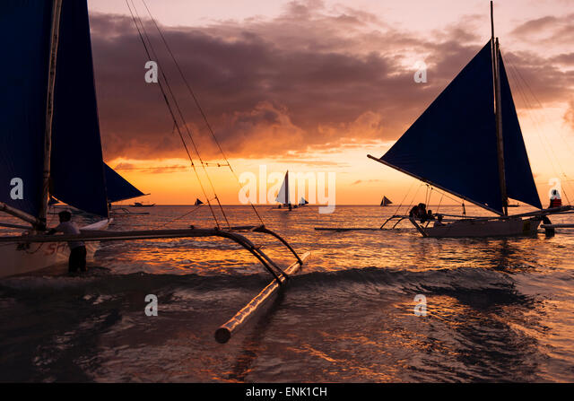 Paraw boats, White Beach, Boracay, The Visayas, Philippines, Southeast Asia, Asia - Stock Image