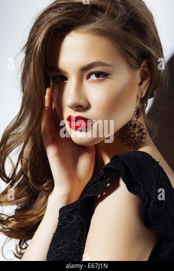 Charisma. Gorgeous Aristocratic Woman with Red Lips - Stock Image