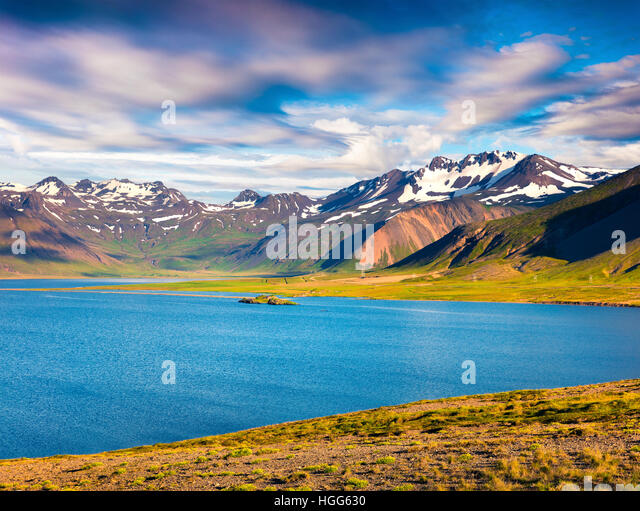 Sunny summer morning in the Icelandic fjords. Colorful seascape near the small town Grundarfjordur, Snaefellsnes - Stock Image