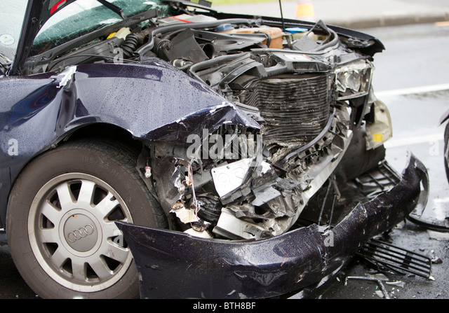 The scene of a serious motor vehicle crash, White Swan Road, Lynfield, Auckland, New Zealand - Stock Image