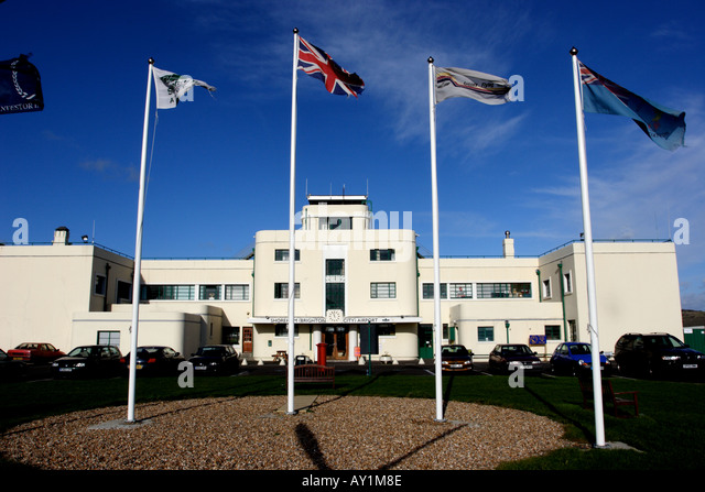 Five Flags and art deco Shoreham Airport - Stock Image
