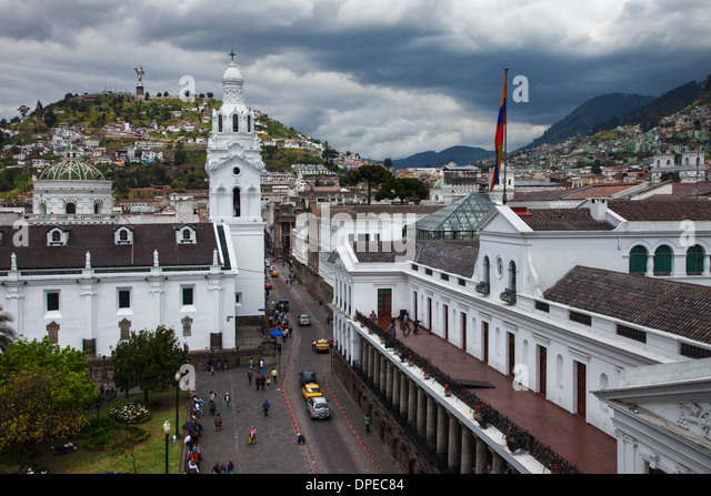 Cathedral of Quito looking towards Panecilllo Hill, Quito Ecuador - Stock Image