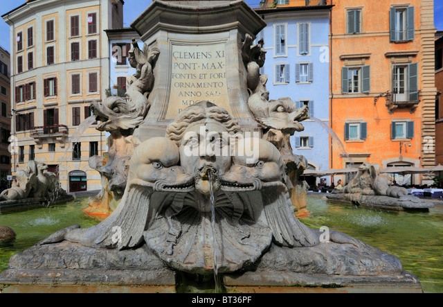 The Fontana del Pantheon fountain in front of the Pantheon in Rome, Italy - Stock Image