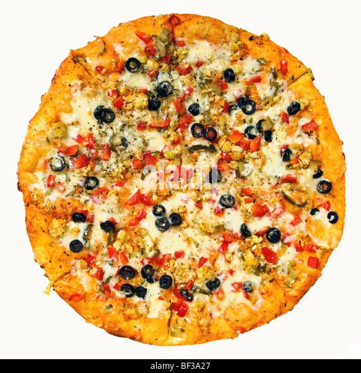 round pizza on white background - Stock Image