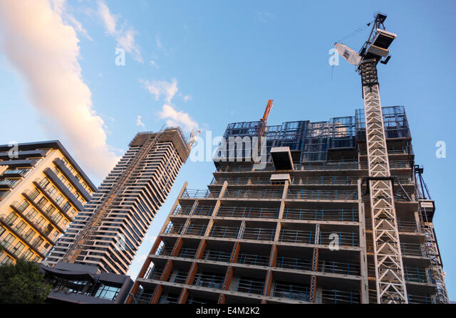 Melbourne Australia Victoria Central Business District CBD high rise buildings city skyline skyscrapers economic - Stock Image