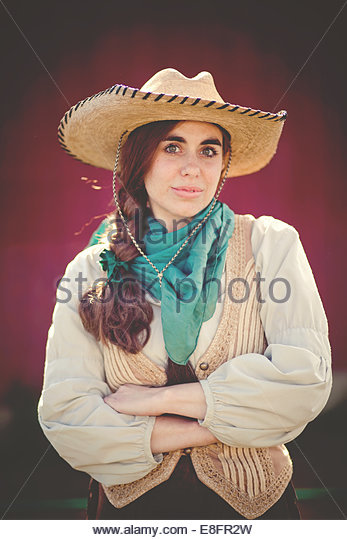 Portrait of modern day cowgirl - Stock Image
