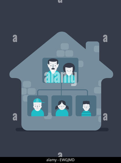 Portrait of happy family at home - Stock Image