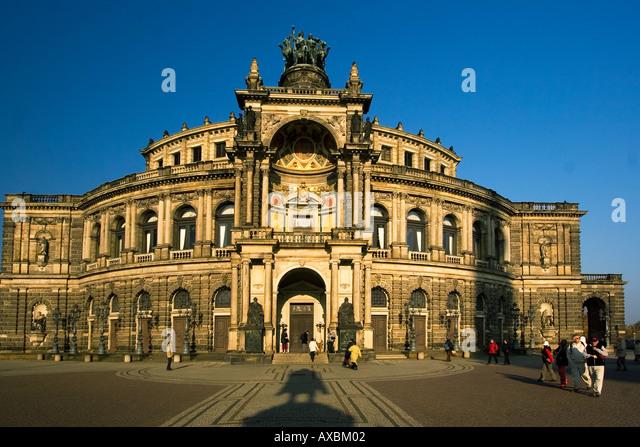 Dresden Saxony Semper Opera theatre square - Stock Image