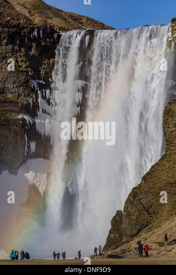 EUROPE ICELAND SKOGAFOSS WATERFALL TRAVEL - Stock-Bilder