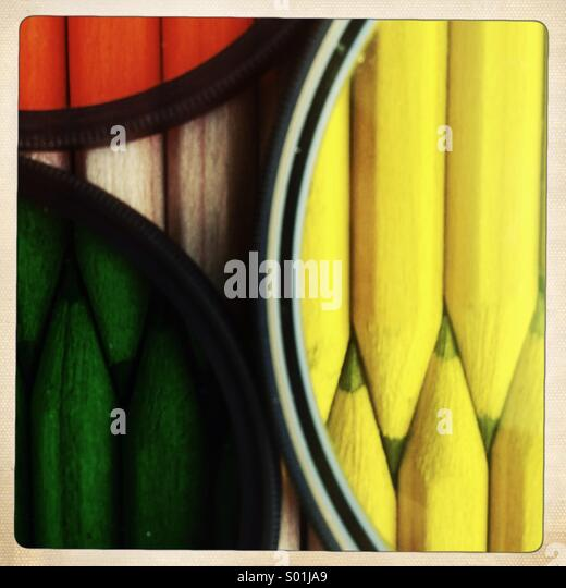 Pencils behind color photographic filters - Stock-Bilder