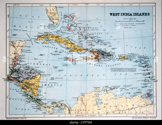 West India Islands, Historical Map, Circa 1893 - Stock Image