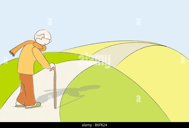 Illustration, old man walking alone - Stock-Bilder