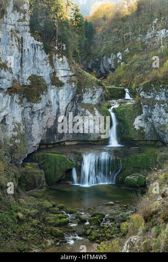 Cascade de la Billaude, Franche-Comté, France - Stock-Bilder