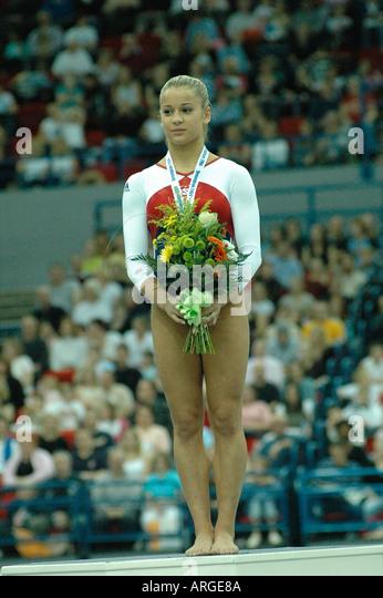 12TH ARTISTIC GYMNASTICS WORLD CUP BIRMINGHAM 11TH DECEMBER 2004 ALICIA SACRAMONE USA WINNER WOMENS VAULT - Stock Image