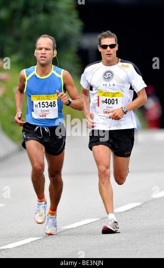 Eduard Scherer, Germany, runner-up, left, and Martin Beckmann, Germany, Category Winner, Stuttgart Half Marathon, - Stock Image