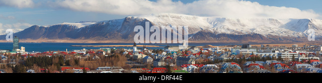 Panoramic view over Reykjavic, Iceland, Polar region - Stock-Bilder