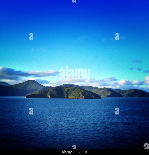 Allports Island. Queen Charlotte Sound, New Zealand - Stock Image