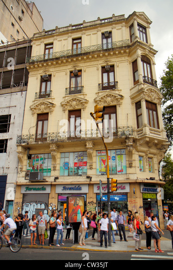 Argentina Buenos Aires Avenida Lima street scene apartment building architecture mixed-use business corner busy - Stock Image