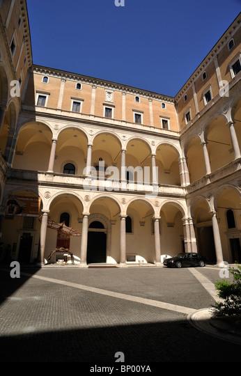 italy, rome, palazzo della cancelleria, courtyard, renaissance architecture - Stock Image