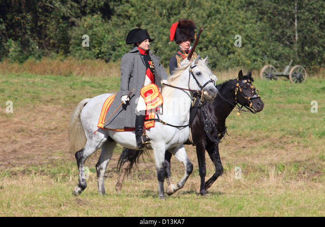 Napoleon Bonaparte escorted by a captain of the Horse Chasseurs of the Imperial Guard during the Battle of Borodino, - Stock Image