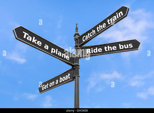 Transport options on a finger post sign. - Stock Image