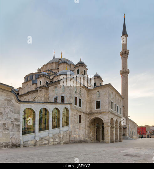 Angled day shot of Suleymaniye Mosque, an an Ottoman imperial mosque located on the Third Hill of Istanbul, Turkey, - Stock Image