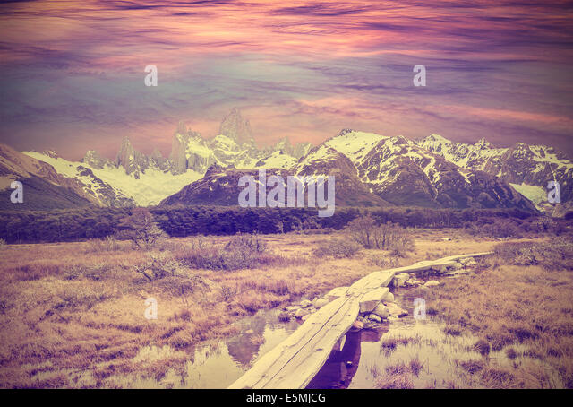 Vintage picture of Andes, Fitz Roy mountain range, Argentina - Stock Image