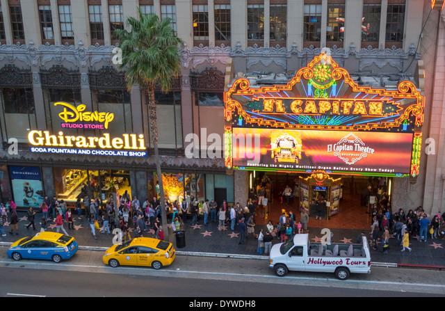California CA LA Los Angeles Hollywood Boulevard movie industry Hollywood Walk of Fame El Capitan Theatre movie - Stock Image