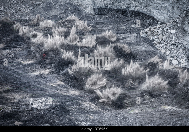 Blasting explosion in surface coal mine - Stock Image