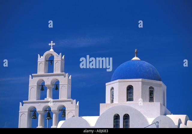GREECE Santorini Church at Pyrgos Village - Stock Image