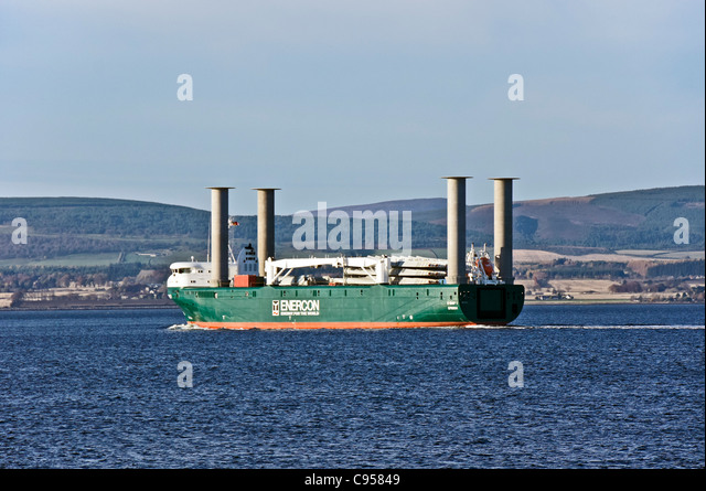 Enercon owned E-SHIP 1 makes its way past Nigg opposite Cromarty on the Black Isle in Scotland en route to Invergordon - Stock Image
