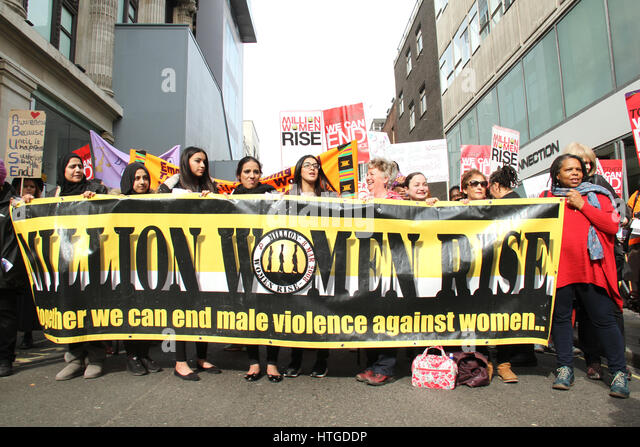 London, UK. March 11, 2017: Thousands of women and men attend the 10th annual Million Women Rise march and rally - Stock Image