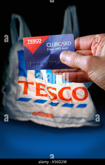 Tesco carrier bag and clubcard - Stock Image