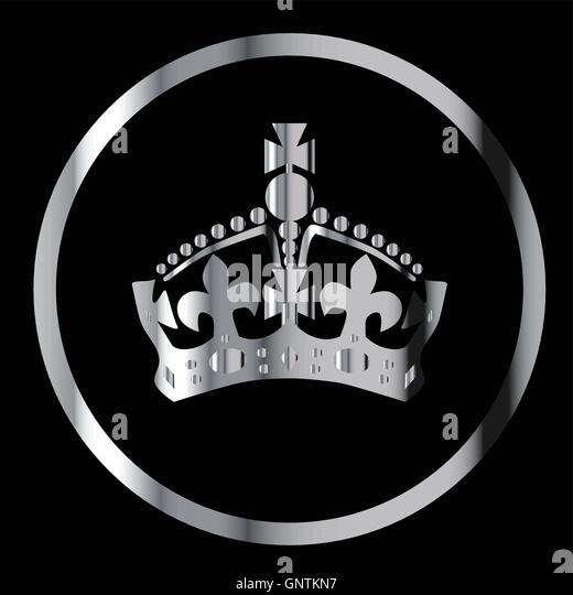 Crown in silver circle on a black background - Stock Image