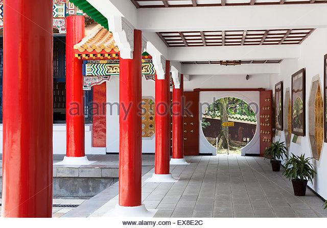 Taiwan, Taipei, Corridor Of Shrine. - Stock Image
