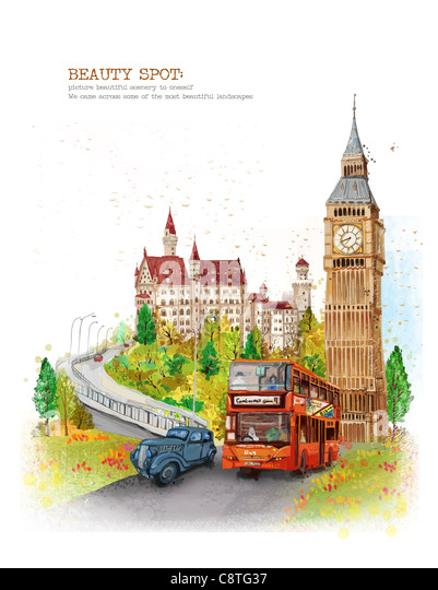 Bus And Vintage Car On Road - Stock Image
