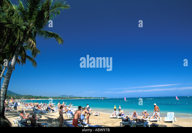 Caribbean Dominican Republic beach at Cabarete - Stock Image