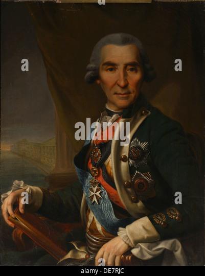 Portrait of Ivan Loginovich Golenishchev-Kutuzov (1729-1802), Early 1800s. Artist: Glukovsky, Semyon (active 1800s) - Stock-Bilder