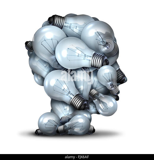 Light bulb head creativity and the power of imagination concept as a group of lightbulbs shaped as a human face - Stock Image