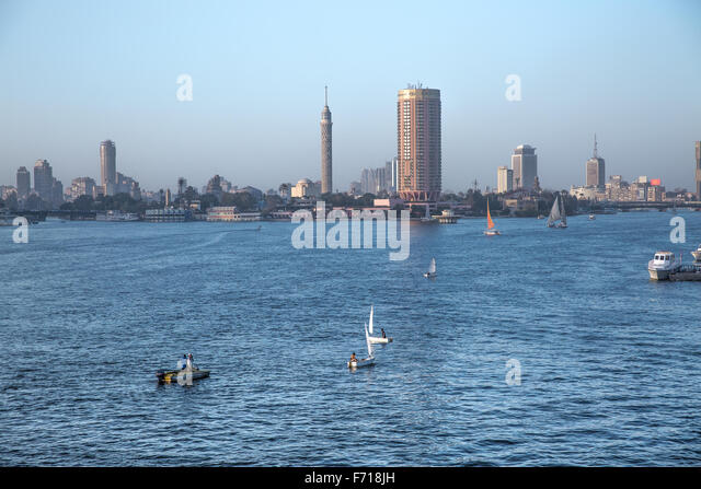 Landscape, Cairo, Egypt, River Nile, Cairo Tower - Stock Image
