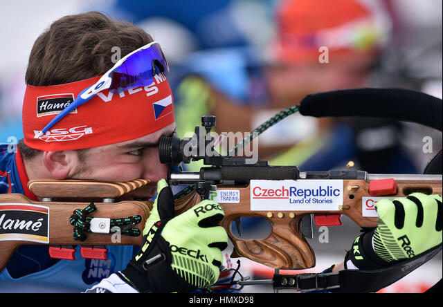 Nove Mesto Na Morave, Czech Republic. 05th Feb, 2017. Czech Milan Zemlicka won Junior Men 12.5 km Pursuit Competition - Stock Image