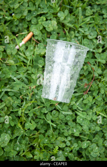 Empty plastic cup - Stock Image