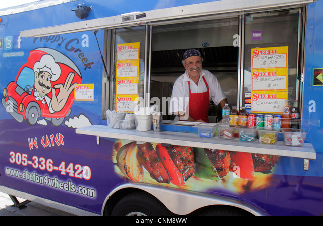 Florida Hialeah Palm Avenue Art on Palm fair festival event food truck Greek man food mobile small business owner - Stock Image