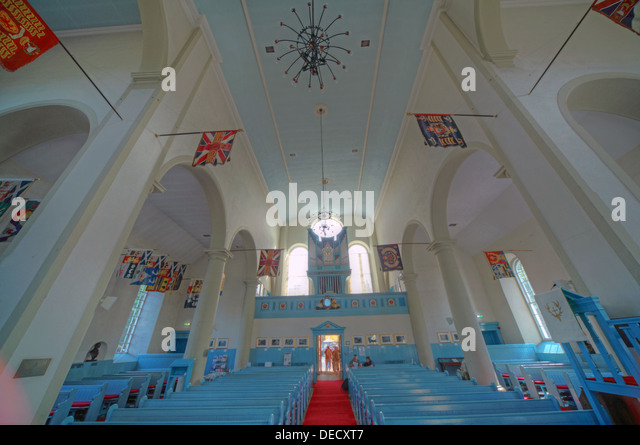 Canongate Kirk Church Edinburgh Royal Mile, Scotland, UK Interior wide angle shot - Stock Image
