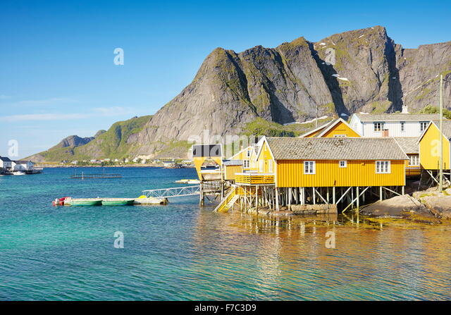 Taditional fishermen houses rorbu, Lofoten Islands, Norway - Stock-Bilder