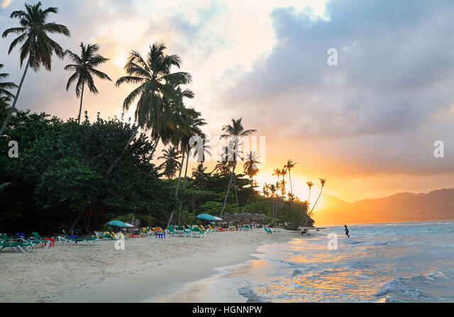 La Playta at sunset, tropical beautiful beach near Las Galeras village in Samana area, Dominican Republic - Stock Image