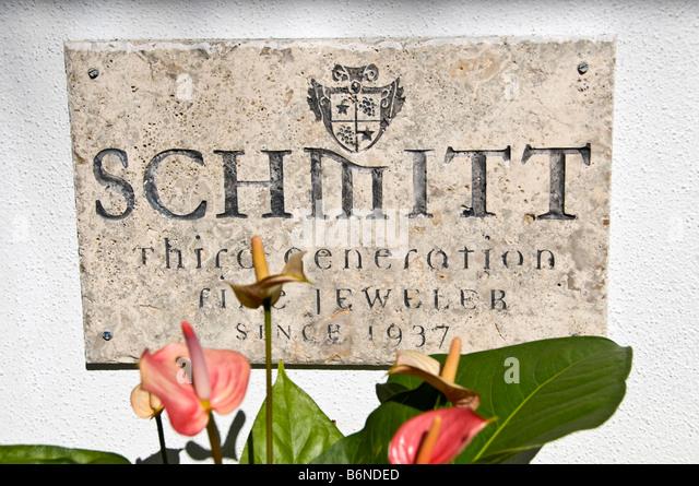 jewelers sign Fifth Avenue South 5th Avenue South schmitt jeweler shops Naples Florida - Stock Image