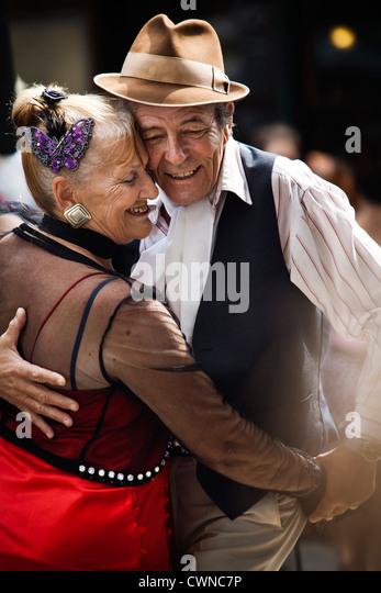 Tango dancers in San Telmo, Buenos Aires, Argentina. - Stock Image
